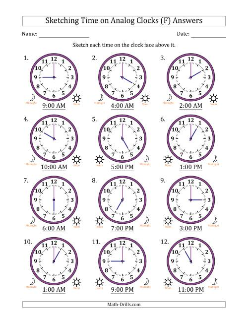 The Sketching Time on Analog Clocks in One Hour Intervals (F) Math Worksheet Page 2