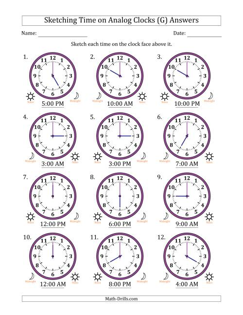 The Sketching 12 Hour Time on Analog Clocks in One Hour Intervals (12 Clocks) (G) Math Worksheet Page 2