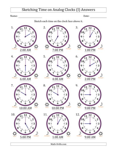 The Sketching Time on Analog Clocks in One Hour Intervals (I) Math Worksheet Page 2