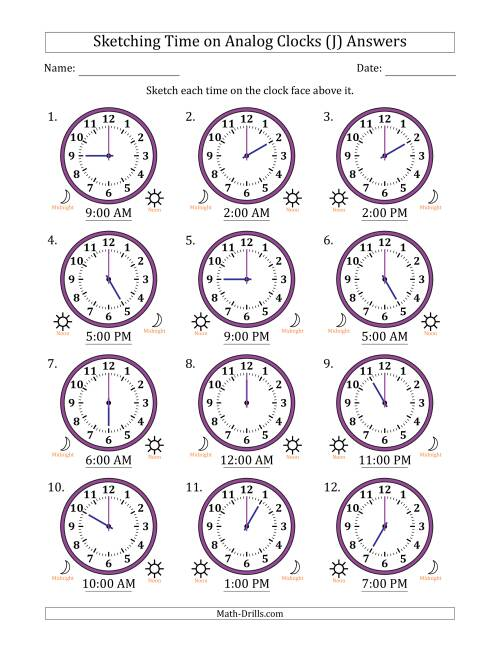 The Sketching Time on Analog Clocks in One Hour Intervals (J) Math Worksheet Page 2