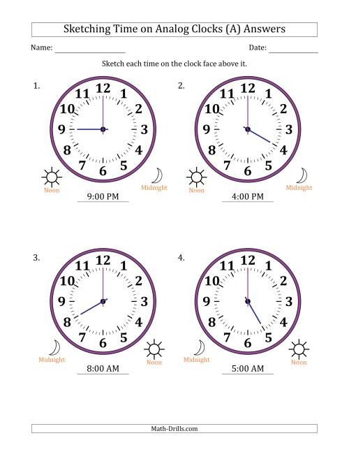 The Sketching 12 Hour Time on Analog Clocks in One Hour Intervals (4 Large Clocks) (A) Math Worksheet Page 2
