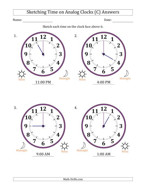The Sketching 12 Hour Time on Analog Clocks in One Hour Intervals (4 Large Clocks) (C) Math Worksheet Page 2