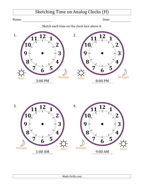 The Sketching 12 Hour Time on Analog Clocks in One Hour Intervals (4 Large Clocks) (H) Math Worksheet