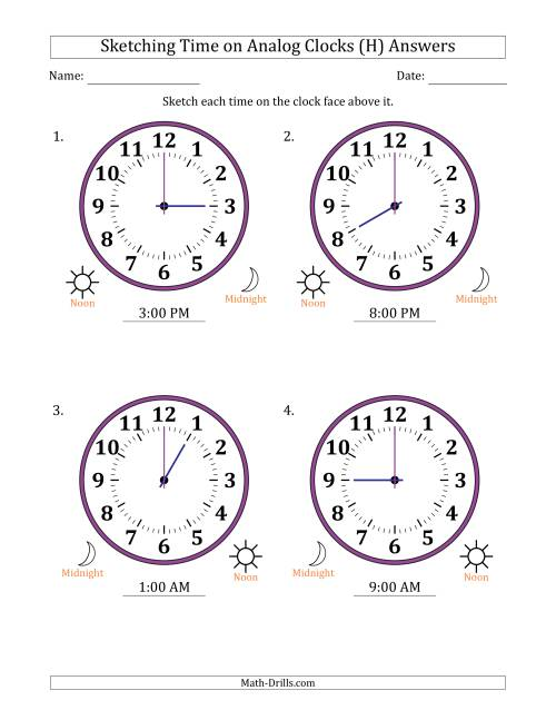 The Sketching 12 Hour Time on Analog Clocks in One Hour Intervals (4 Large Clocks) (H) Math Worksheet Page 2
