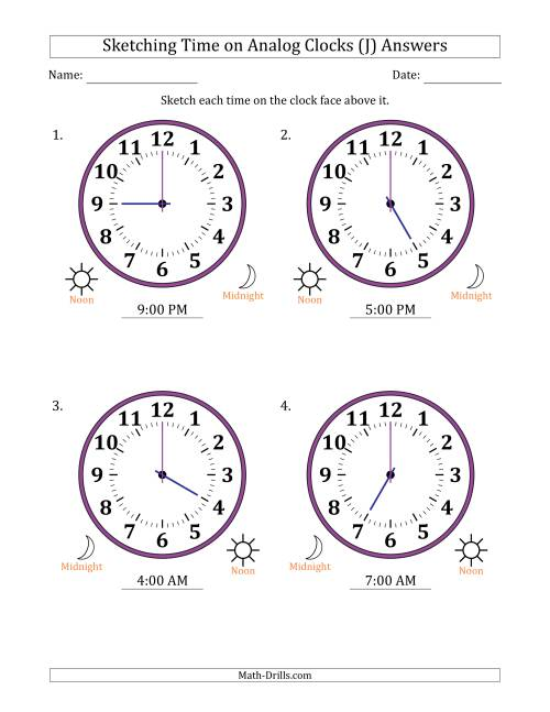 The Sketching 12 Hour Time on Analog Clocks in One Hour Intervals (4 Large Clocks) (J) Math Worksheet Page 2