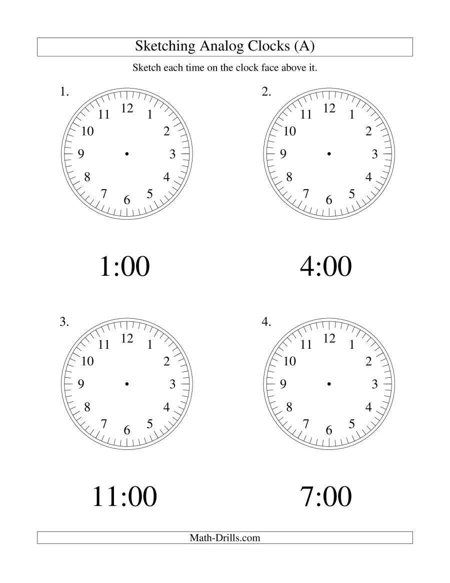 The Sketching Time on Analog Clocks in One Hour Intervals (LP) Math Worksheet