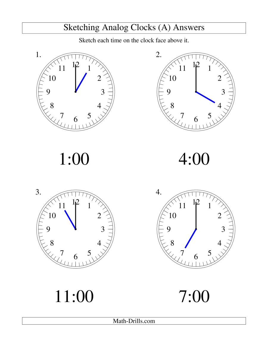 The Sketching Time on Analog Clocks in One Hour Intervals (LP) Math Worksheet Page 2