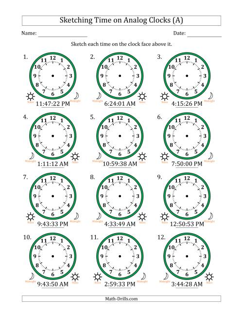 The Sketching 12 Hour Time on Analog Clocks in 1 Second Intervals (12 Clocks) (A) Math Worksheet