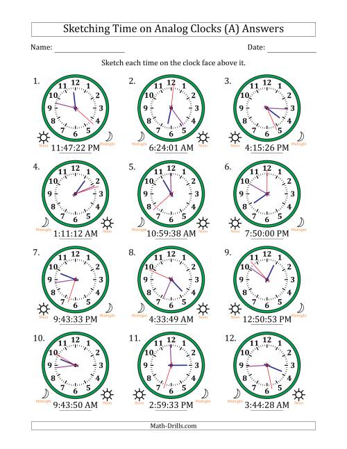 The Sketching 12 Hour Time on Analog Clocks in 1 Second Intervals (12 Clocks) (A) Math Worksheet Page 2