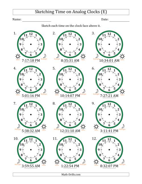The Sketching 12 Hour Time on Analog Clocks in 1 Second Intervals (12 Clocks) (E) Math Worksheet