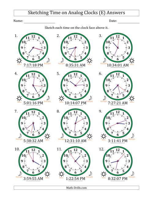 The Sketching 12 Hour Time on Analog Clocks in 1 Second Intervals (12 Clocks) (E) Math Worksheet Page 2