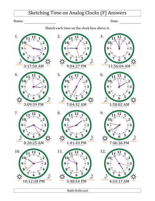 The Sketching 12 Hour Time on Analog Clocks in 1 Second Intervals (12 Clocks) (F) Math Worksheet Page 2