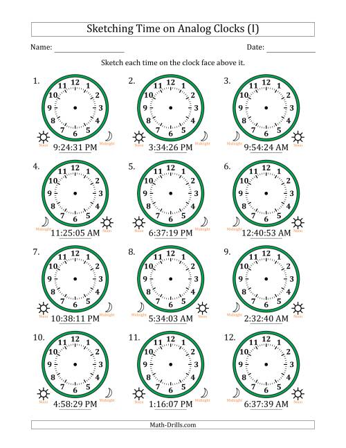 The Sketching 12 Hour Time on Analog Clocks in 1 Second Intervals (12 Clocks) (I) Math Worksheet