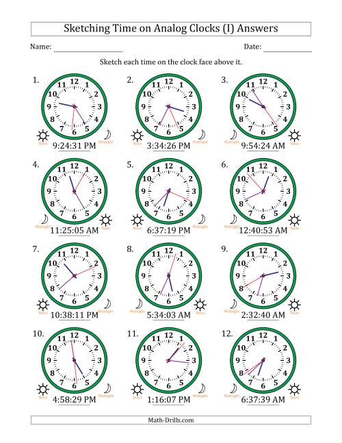 The Sketching 12 Hour Time on Analog Clocks in 1 Second Intervals (12 Clocks) (I) Math Worksheet Page 2
