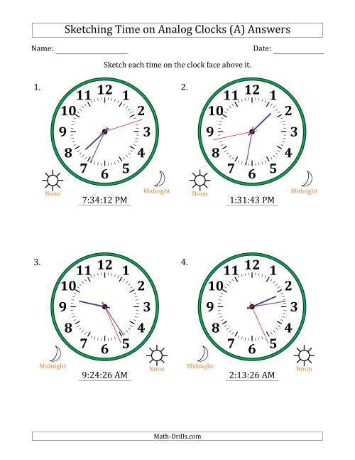 The Sketching 12 Hour Time on Analog Clocks in 1 Second Intervals (4 Large Clocks) (A) Math Worksheet Page 2