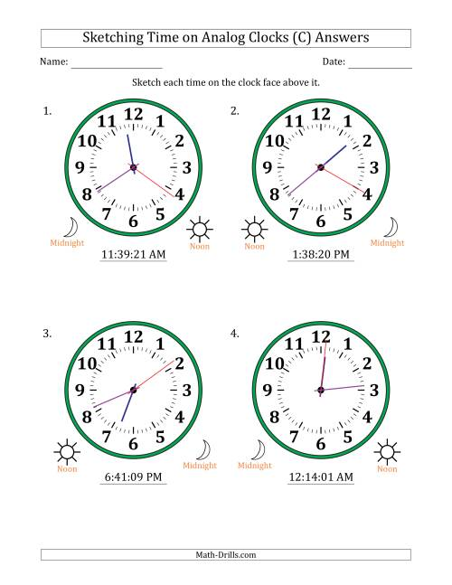 The Sketching 12 Hour Time on Analog Clocks in 1 Second Intervals (4 Large Clocks) (C) Math Worksheet Page 2