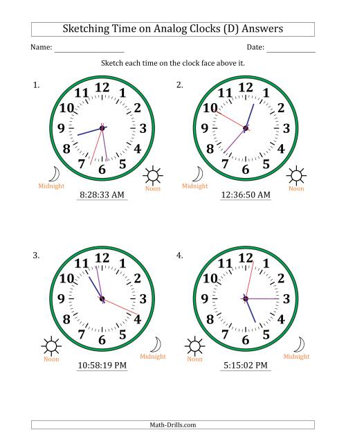 The Sketching 12 Hour Time on Analog Clocks in 1 Second Intervals (4 Large Clocks) (D) Math Worksheet Page 2