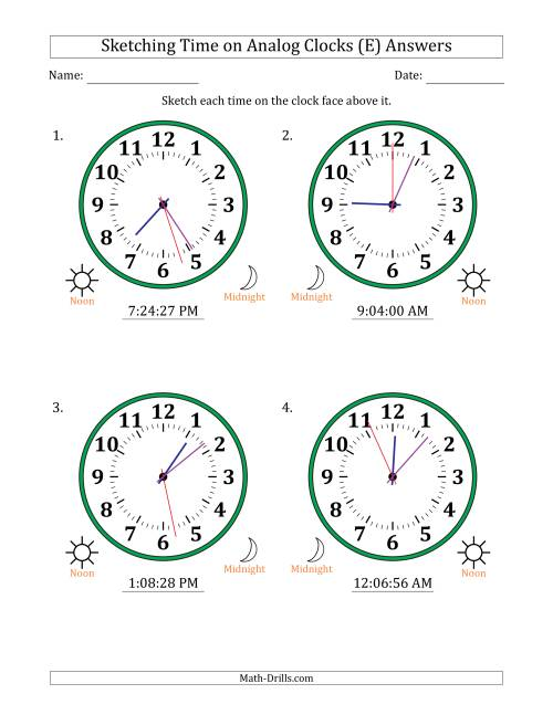 The Sketching 12 Hour Time on Analog Clocks in 1 Second Intervals (4 Large Clocks) (E) Math Worksheet Page 2