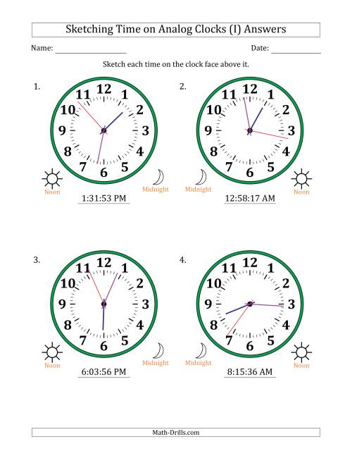 The Sketching 12 Hour Time on Analog Clocks in 1 Second Intervals (4 Large Clocks) (I) Math Worksheet Page 2