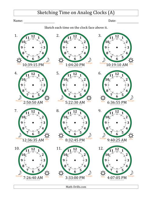 The Sketching 12 Hour Time on Analog Clocks in 5 Second Intervals (12 Clocks) (A) Math Worksheet