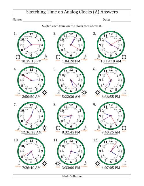 The Sketching 12 Hour Time on Analog Clocks in 5 Second Intervals (12 Clocks) (A) Math Worksheet Page 2