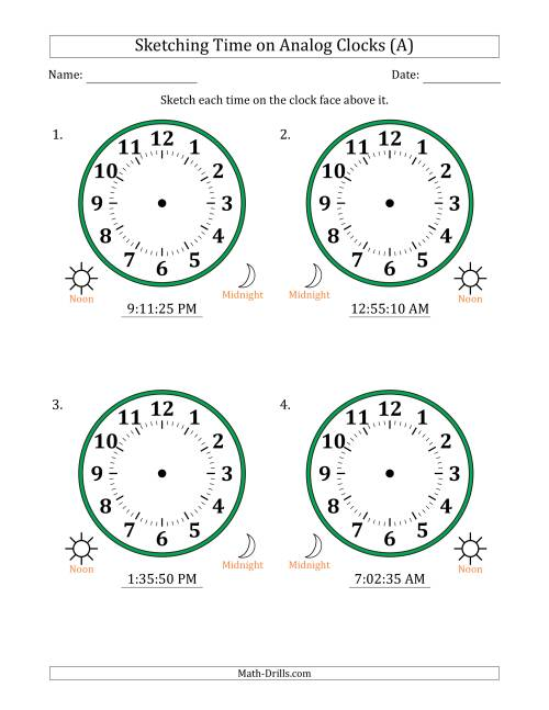 The Sketching 12 Hour Time on Analog Clocks in 5 Second Intervals (4 Large Clocks) (A) Math Worksheet