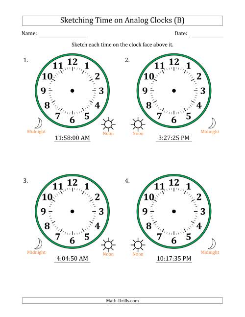 The Sketching 12 Hour Time on Analog Clocks in 5 Second Intervals (4 Large Clocks) (B) Math Worksheet