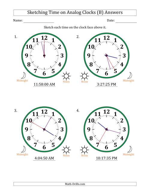 The Sketching 12 Hour Time on Analog Clocks in 5 Second Intervals (4 Large Clocks) (B) Math Worksheet Page 2
