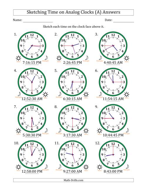 The Sketching 12 Hour Time on Analog Clocks in 15 Second Intervals (12 Clocks) (A) Math Worksheet Page 2