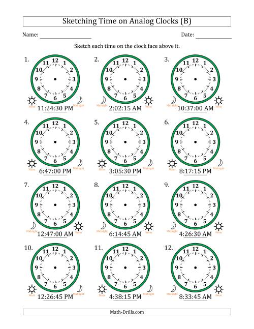 The Sketching Time on Analog Clocks in 15 Second Intervals (B) Math Worksheet