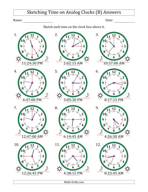 The Sketching Time on Analog Clocks in 15 Second Intervals (B) Math Worksheet Page 2