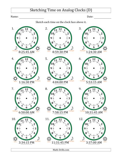 The Sketching Time on Analog Clocks in 15 Second Intervals (D) Math Worksheet