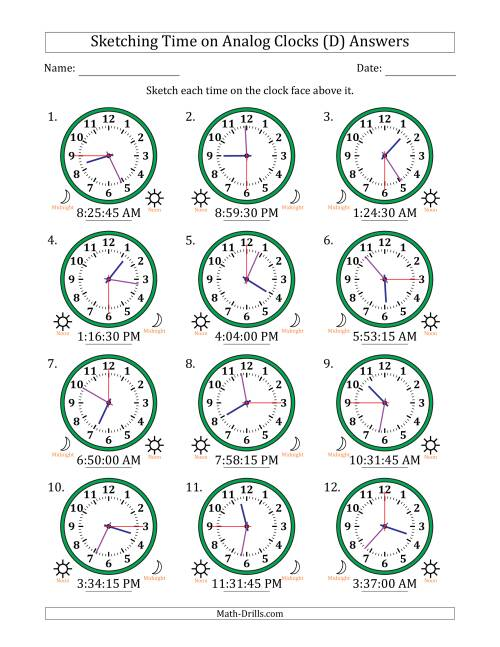 The Sketching Time on Analog Clocks in 15 Second Intervals (D) Math Worksheet Page 2