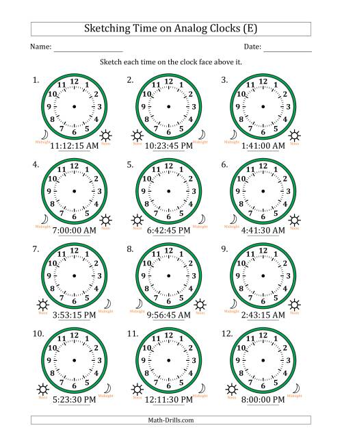 The Sketching 12 Hour Time on Analog Clocks in 15 Second Intervals (12 Clocks) (E) Math Worksheet