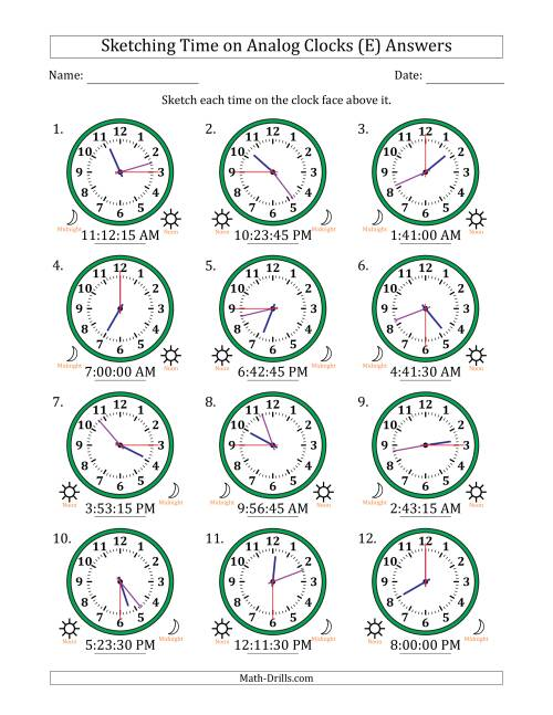 The Sketching 12 Hour Time on Analog Clocks in 15 Second Intervals (12 Clocks) (E) Math Worksheet Page 2
