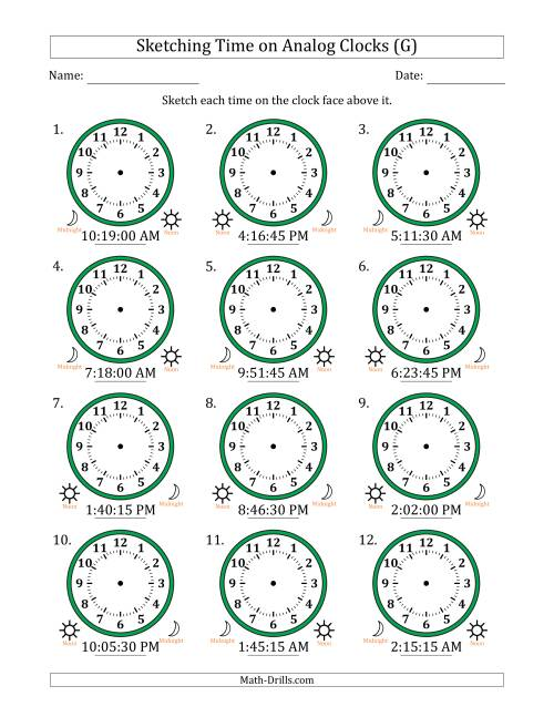 The Sketching Time on Analog Clocks in 15 Second Intervals (G) Math Worksheet