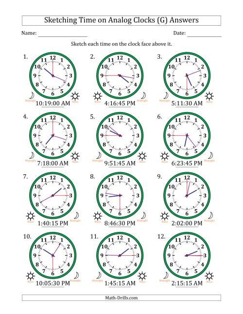 The Sketching Time on Analog Clocks in 15 Second Intervals (G) Math Worksheet Page 2