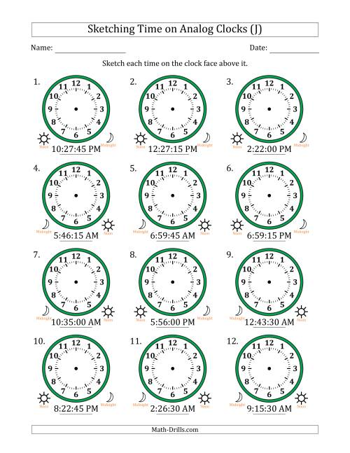 The Sketching 12 Hour Time on Analog Clocks in 15 Second Intervals (12 Clocks) (J) Math Worksheet