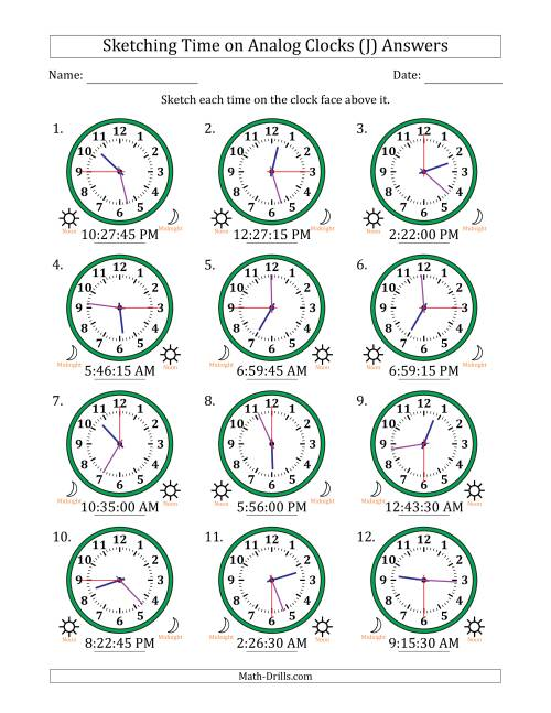 The Sketching 12 Hour Time on Analog Clocks in 15 Second Intervals (12 Clocks) (J) Math Worksheet Page 2