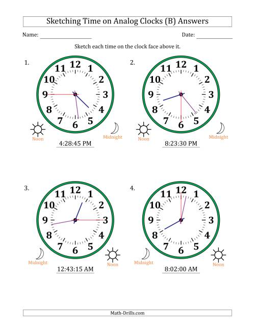 The Sketching 12 Hour Time on Analog Clocks in 15 Second Intervals (4 Large Clocks) (B) Math Worksheet Page 2
