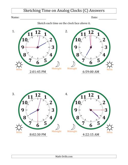 The Sketching 12 Hour Time on Analog Clocks in 15 Second Intervals (4 Large Clocks) (C) Math Worksheet Page 2