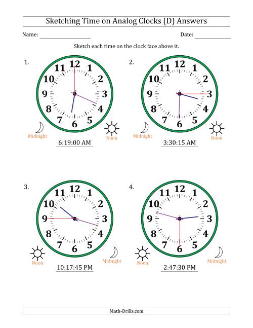 The Sketching 12 Hour Time on Analog Clocks in 15 Second Intervals (4 Large Clocks) (D) Math Worksheet Page 2