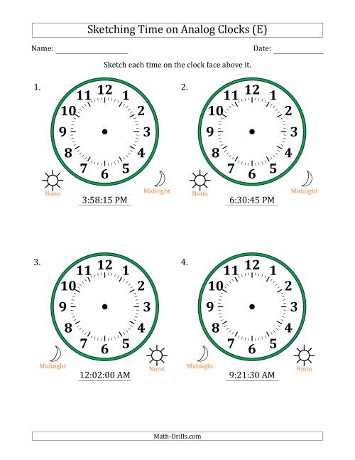 The Sketching 12 Hour Time on Analog Clocks in 15 Second Intervals (4 Large Clocks) (E) Math Worksheet