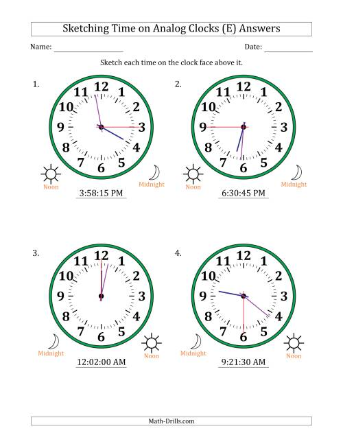 The Sketching 12 Hour Time on Analog Clocks in 15 Second Intervals (4 Large Clocks) (E) Math Worksheet Page 2