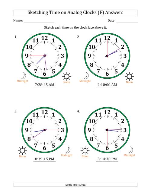 The Sketching 12 Hour Time on Analog Clocks in 15 Second Intervals (4 Large Clocks) (F) Math Worksheet Page 2