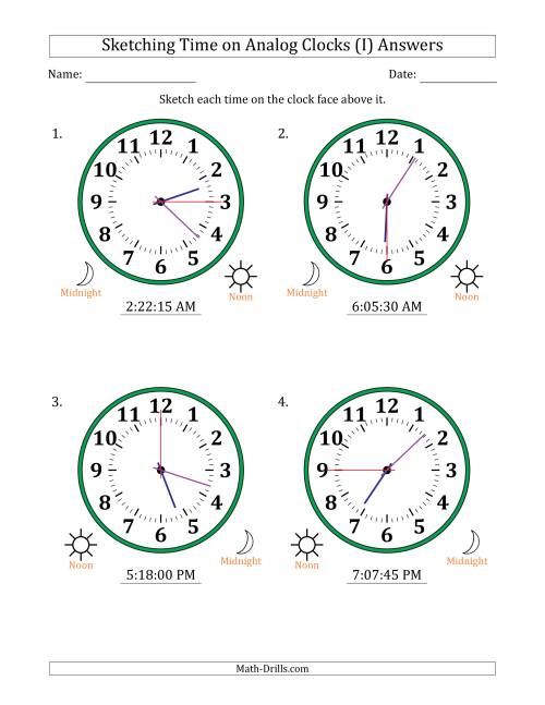 The Sketching 12 Hour Time on Analog Clocks in 15 Second Intervals (4 Large Clocks) (I) Math Worksheet Page 2