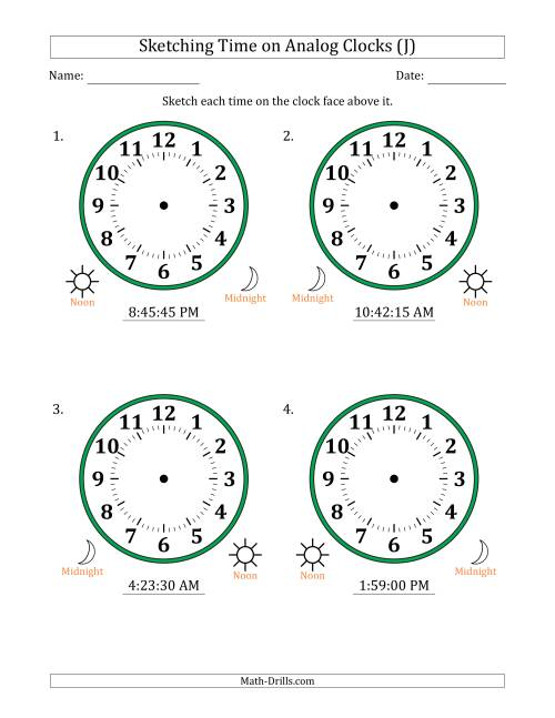 The Sketching 12 Hour Time on Analog Clocks in 15 Second Intervals (4 Large Clocks) (J) Math Worksheet