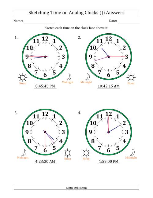 The Sketching 12 Hour Time on Analog Clocks in 15 Second Intervals (4 Large Clocks) (J) Math Worksheet Page 2