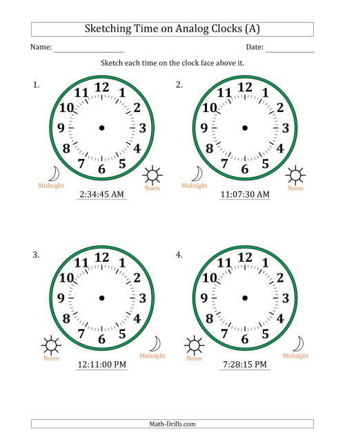 The Sketching 12 Hour Time on Analog Clocks in 15 Second Intervals (4 Large Clocks) (All) Math Worksheet