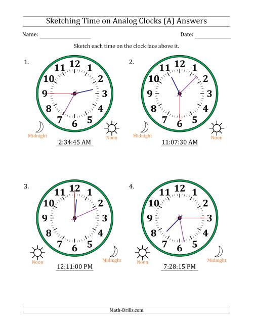 The Sketching 12 Hour Time on Analog Clocks in 15 Second Intervals (4 Large Clocks) (All) Math Worksheet Page 2